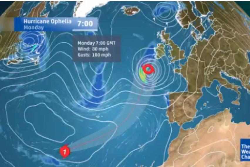 Ураганот Офелија и  се заканува на Европа