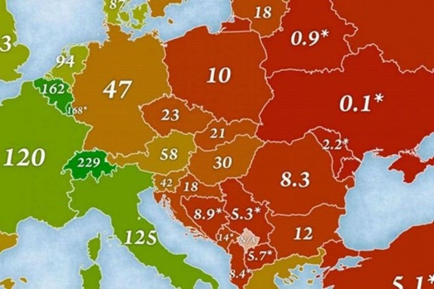 Објавена карта на богатството  Македонија на дното во Европа